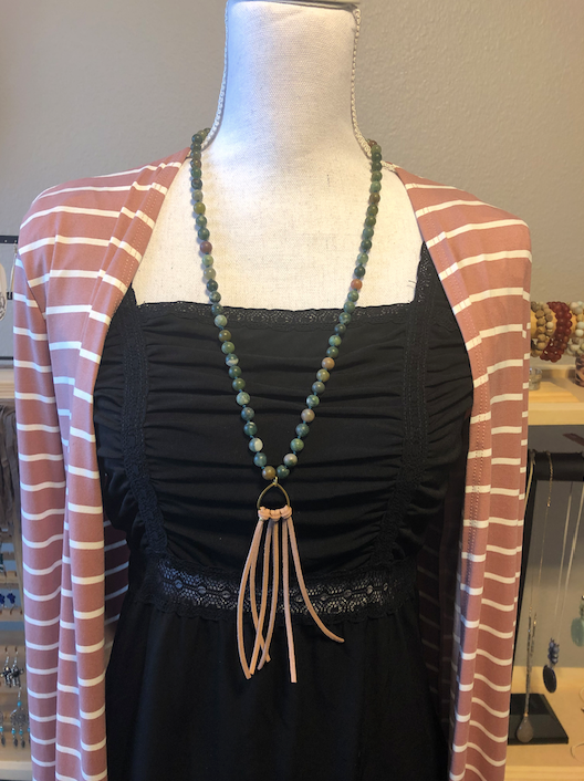 Amazonite Bear Claw necklace with tan faux leather suede