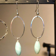 Load image into Gallery viewer, Silver Oval Gemstone Drop Earrings