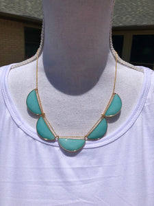 5 Amazonite Faceted Half Moon necklace