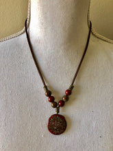 Load image into Gallery viewer, Apple Jasper with Etched Flower Pendant Necklace