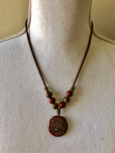 Apple Jasper with Etched Flower Pendant Necklace