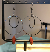 Load image into Gallery viewer, Gemstone Rice Bead earrings with Gunmetal Circles