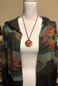 Apple Jasper Large Circle Pendant Necklace