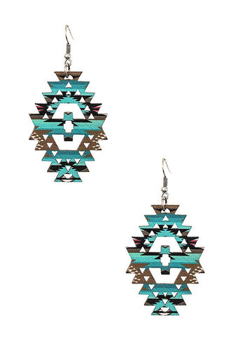 Aztec Turquoise and Earth Tones Wood Earrings