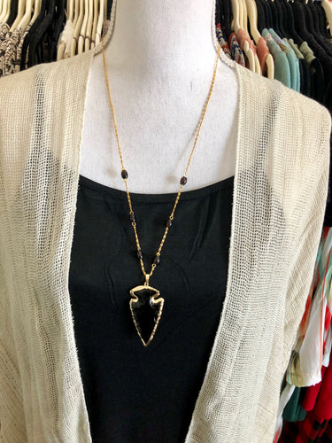 Onyx & Gold Arrowhead Necklace