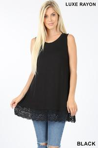 Black Sleeveless Lace Shirt - Small - 3XL