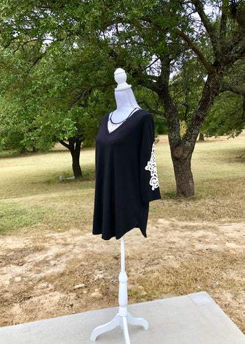 Soft Black V Neck Crochet Patch Tunic - Sm - 3XL