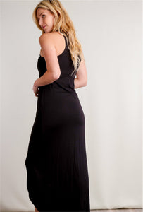 Black High Neck Maxi Dress