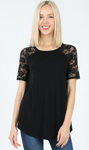 Black Short Sleeve Lace Shirt - Sm - XL
