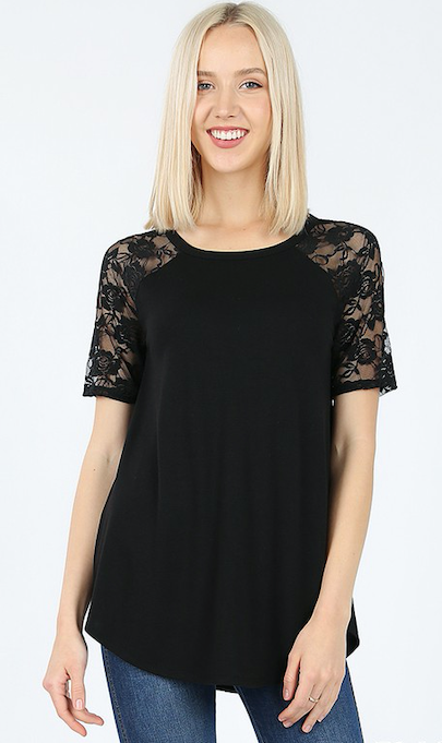 Black Short Sleeve Lace Shirt