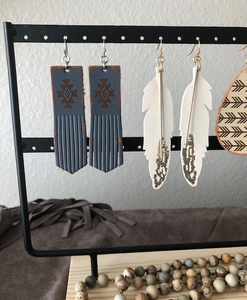 White feather leather earrings (4 inches long)