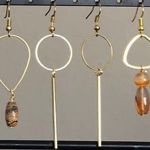 Load image into Gallery viewer, Brass circle drop earrings