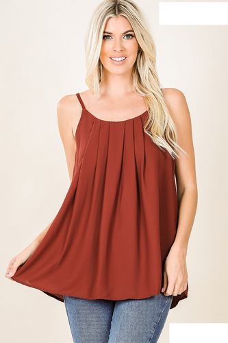 Brick Red pleated and lined camisole - Sm - 3XL