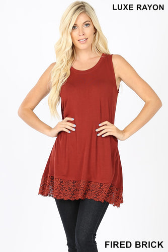 Brick Sleeveless Lace Shirt - Sm - 3XL