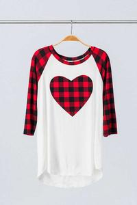 Buffalo Plaid Heart Raglan Shirt