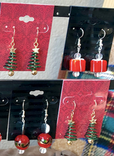 Load image into Gallery viewer, Green Spiral Christmas Trees Earrings