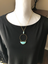 Load image into Gallery viewer, Brass Circle with gemstones necklace