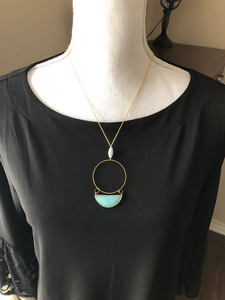 Brass Circle with gemstones necklace