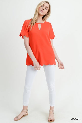 Coral Scalloped Trim Key Hole Top