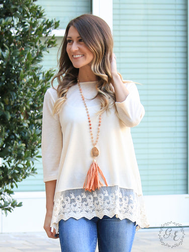 Peach 3/4 Sleeve Tunic with Lace Trim - Sm & Lg left