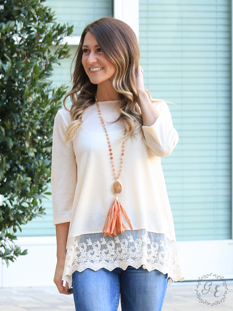 Peach 3/4 Sleeve Tunic with Lace Trim - only Lg left