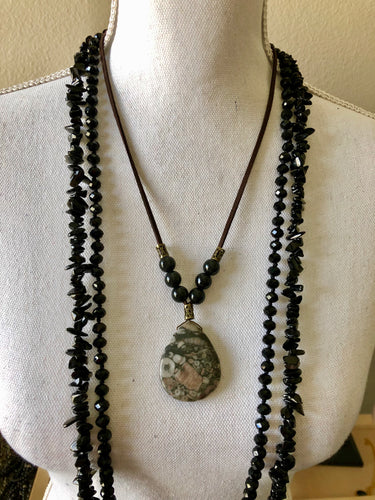 Crinoid tear drop Pendant necklace