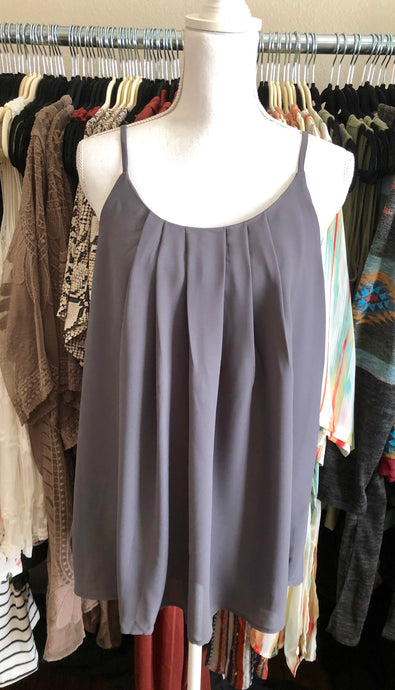 Grey pleated and lined camisole