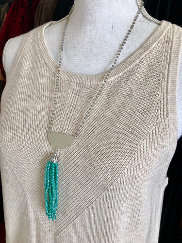 Elegant Handmade Silver, Grey & Blue Green Beaded necklace