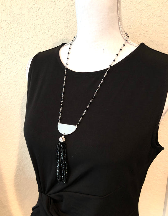 Elegant Handmade Silver & Onyx Beaded necklace