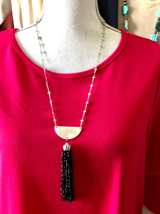 Elegant Handmand Cross & Onyx Tassel necklace