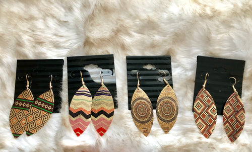 Fall Metal Oval Earrings - 4 different patterns