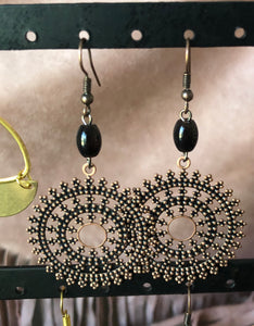 Vintage Filigree Copper circle earrings