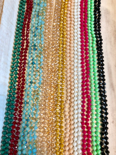 Faceted Glass Bead Necklaces - 12 colors
