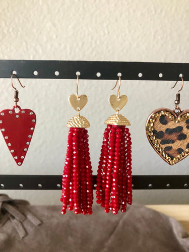 Gold Heart red beaded earrings