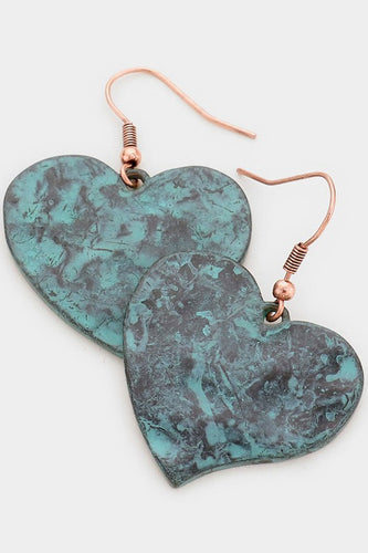 Green Patina & Copper Earrings