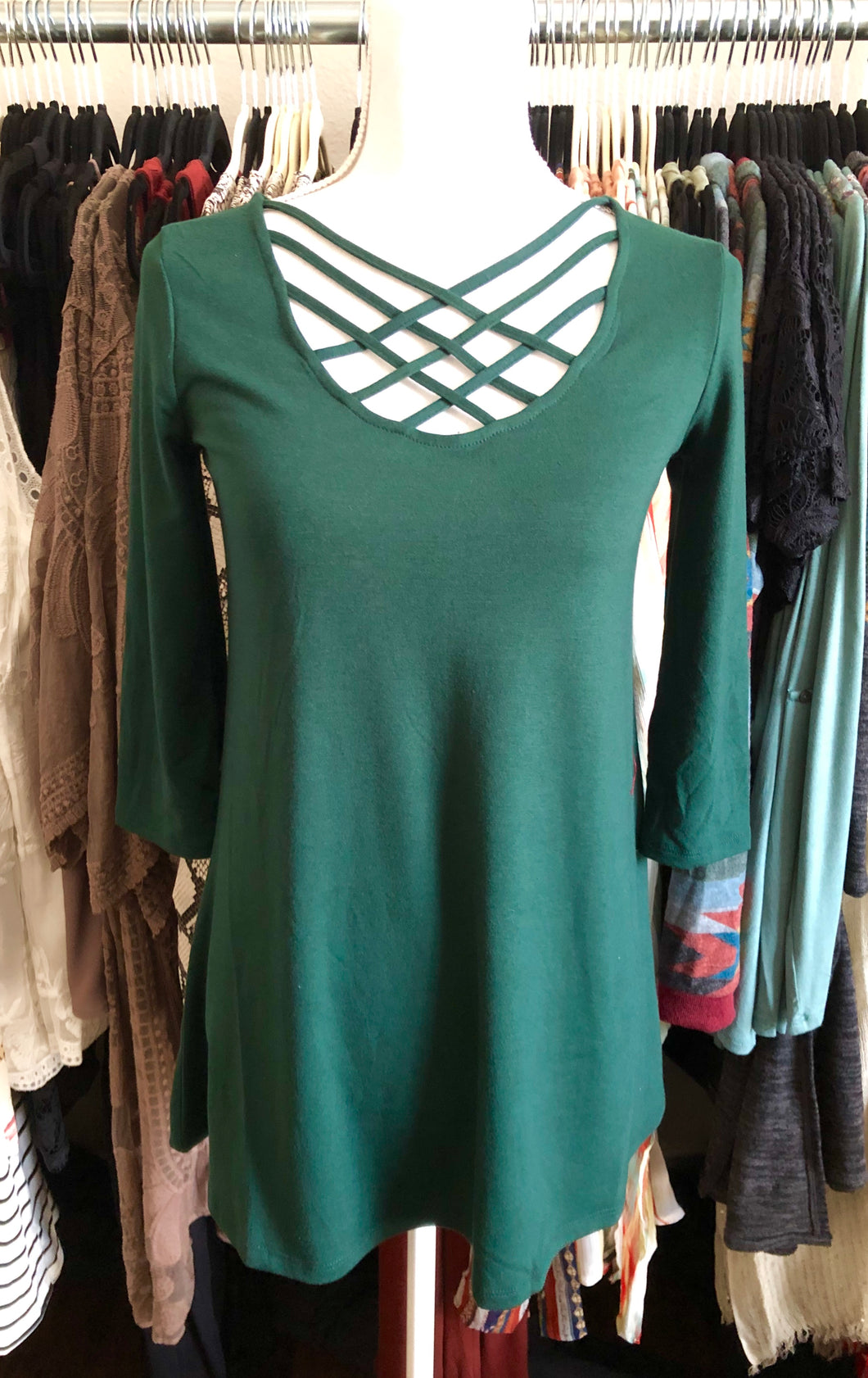 Hunter Green Criss Cross 3/4 inch sleeve top - Sm - XL