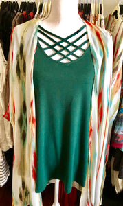 Hunter Green Criss Cross 3/4 inch sleeve top