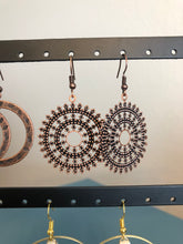 Load image into Gallery viewer, Vintage Filigree Copper circle earrings