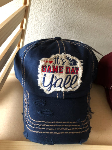 'It's Game Day Y'all' red, white & navy distressed hat