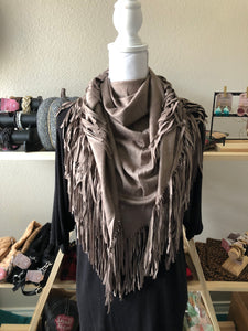 Fringe faux leather suede Scarf
