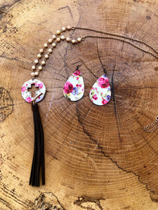 Pink & White Flower print faux leather teardrop earrings