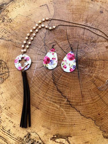 Pink & White Flower print cross necklace with a faux leather tassel