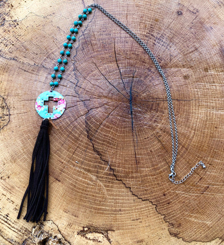 Turquoise Flower print cross necklace with a faux leather tassel