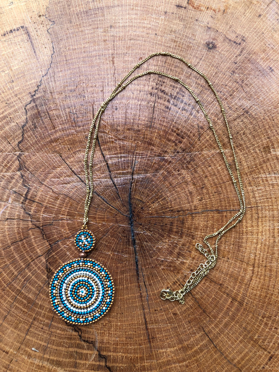 Circles Beaded Necklace on a brass colored chain