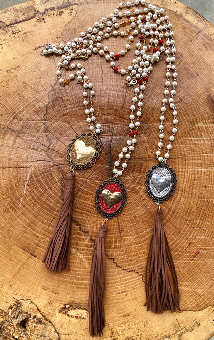 Long Heart Necklace with Pearls, Beads & Suede
