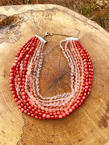 Three Shades of Living Coral necklace