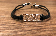 Load image into Gallery viewer, Double Infinity Silver Charm Pendant Bracelet with Faux Leather Suede