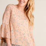 Load image into Gallery viewer, Peach Floral Lace Bell Sleeve Top