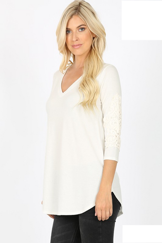Ivory V Neck Crochet Patch Tunic - Sm - 3XL