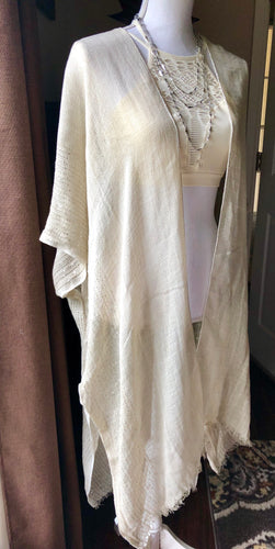 Ivory Long Lightweight Sequin Border Kimono